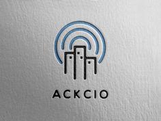 ACKCIO Logo designed by Rendy Yanwar. Construction Business, Construction Design, Electricity Logo, Data Logo, Connect Logo, City Icon, Hotel Logo, Construction Birthday Parties, Education Logo