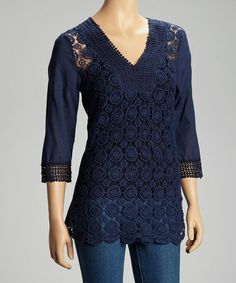 Take a look at this Navy Circles Crocheted Top by Simply Irresistible on @zulily today!