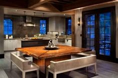 Contemporary Dining Room with Exposed beam, Wall sconce, Hardwood floors, Live Edge Design - Custom Dining Table Square Dining Room Table, Custom Dining Tables, Dining Room Design, Dining Area, Kitchen Tables, Kitchen Dining, Kitchen Units, Square Tables, Room Kitchen
