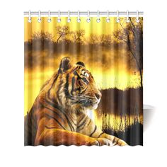 "Tiger and Sunset Shower Curtain 66""x72"". FREE Shipping. FREE Returns."