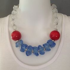 Statement choker necklace, red, blue and white