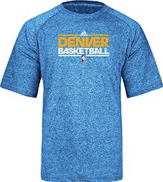 Denver Nuggets Adidas Lt. Blue Heather Authentic On-Court SS Practice Climalite Shirt $29.95