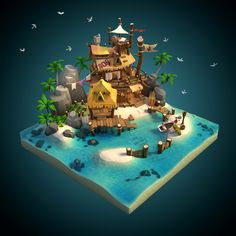 Zbrush, Tiny Beach House, Cube World, Low Poly Games, Landscape Model, Isometric Art, Environment Concept Art, Game Environment, 3d Fantasy
