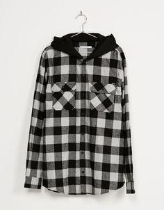 Camisa algodón cuadros capucha felpa - Camisas - Bershka Colombia