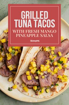 These grilled tuna tacos with fresh mango salsa can satisfy your cravings and make the perfect ending to a fantastic Summer day! Budget Family Meals, Healthy Family Meals, Nutritious Meals, Healthy Dinner Recipes, Clean Eating Slow Cooker Recipe, Clean Eating Recipes, Cooking Recipes, Mango Pineapple Salsa, Tuna Tacos