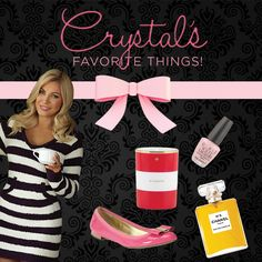 I want to win one of Crystal's Hefner's favorite things! Prizes include Chanel No. 5, OPI nail polish, Kate Spade candle, Kate Spade classic flats, and loungewear from Crystal's new lingerie line!