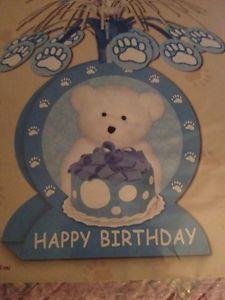 "Happy Birthday Center Piece Boy Bear Blue 7""x 13"" New"