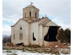 Richard Mosse  Untitled (Kosovo), showing damaged Serb Orthodox church, ostensibly carried out by Kosovo Albanians, Nov 2004.