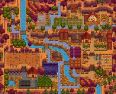 Share and discuss the farm designs you've created in Stardew Valley! Stardew Farms, Stardew Valley Farms, Stardew Valley Layout, Stardew Valley Tips, Animal Crossing, Videogames, Minecraft, City Photo, Layouts