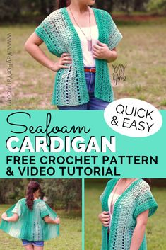 Seafoam cardigan - free beginner-friendly crochet pattern & video tutorial yay for yarn. Kimono Pattern Free, Crochet Shrug Pattern Free, Easy Crochet Patterns, Crochet Shawl, Free Crochet, Crochet Vests, Jacket Pattern, Easy Crochet Shrug, Crochet Sweaters