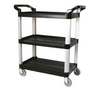 Winco USA Utility Cart, Black: Winco 3 tier black utility cart is designed for commercial use. An deal way to transport food trays or janitorial supplies. Bush Office Furniture, Commercial Office Furniture, Rolling Utility Cart, Indoor Flower Pots, Plastic Shelves, Janitorial Supplies, Professional Kitchen, Food Trays, Food Service Equipment