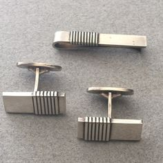 Gallery 925 - Georg Jensen Cufflinks and Tie Bar by Harald Nielsen, No. 80, Handmade Sterling Silver