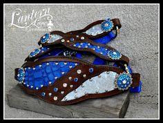 Bronc halter inroyal blue croc/glitter