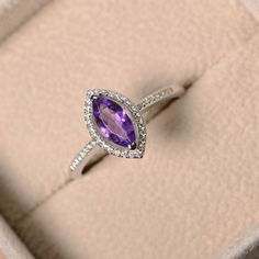 Purple amethyst ring marquise cut engagement silver by LuoJewelry