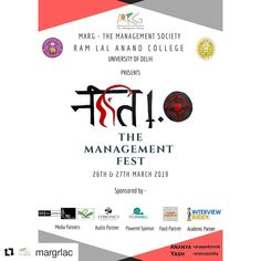 We are proud to collaborate with MARG-The-Management-Society-Of-RLAC presents NITI the Annual Management Fest from University Of Delhi, Collaboration, Interview, March, Management, Presents, College, Gifts, University