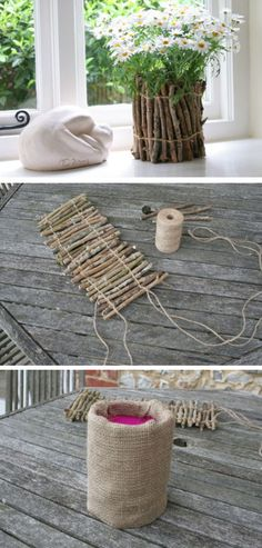 Twig Flower Pots | Click Pic for 24 DIY Spring Wedding Ideas on a Budget | DIY Spring Wedding Flowers Ideas