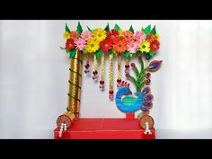 Ganpati Decoration Idea By Punekar Sneh. Paper Flowers Craft, Paper Crafts Origami, Flower Crafts, Eco Friendly Ganpati Decoration, Ganpati Decoration Design, Craft Stick Crafts, Decor Crafts, Ganesh Chaturthi Decoration, Home Flower Arrangements