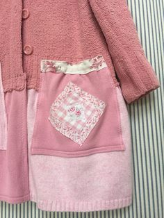 Upcycled Pink Patchwork Long Cardigan Thick Chunky Shabby