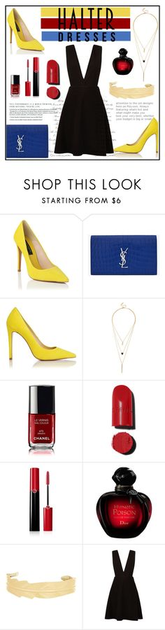 """""""Halter"""" by tauriel25 ❤ liked on Polyvore featuring Yves Saint Laurent, LULUS, Chanel, Giorgio Armani, Christian Dior, New Look and halterdresses"""