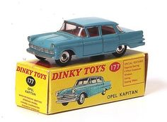 We had Dinky Toys as kids - this is an Opel Kapitan and my Dad had the actual car (our first car in SA) Matchbox Autos, Matchbox Cars, Vintage Models, Vintage Toys, Corgi Toys, Jeep Truck, The Old Days, Old Toys, Hot Wheels