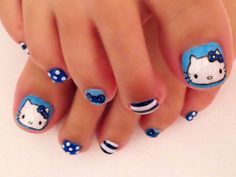 Cats With Down Syndrome Cat Nail Art, Cat Nails, Red Nail Designs, Pedicure Designs, Gothic Nails, Hello Kitty Nails, Girls Nails, Bling Nails, Beauty Nails
