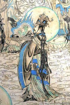 文殊周围的帝释、天王、菩萨、罗汉和童子在云霭上汇成了渡海的行列 【新三才网讯】壁画精品展中的菩萨画在榆林窟里也有十分精彩的表现。 因为没有去过榆林窟,我已经第一时间把去榆林窟作为下次游敦煌的必去目的地��