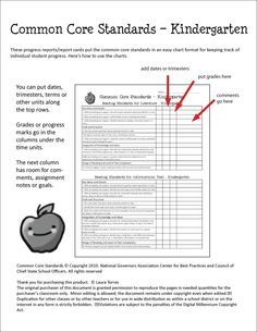 Common Core Progress Reports/Report Cards