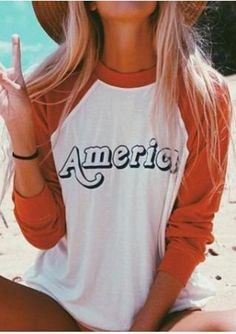 AMERICA Printed Splicing T-Shirt