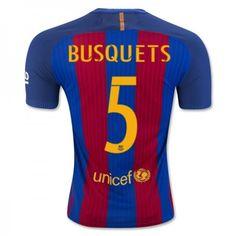 Barcelona 16-17 Sergio #Busquets 5 Hjemmebanesæt Kort ærmer,208,58KR,shirtshopservice@gmail.com