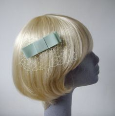 PaleGreen Bow Hair Comb with Veiling by ImogensImagination on Etsy, £7.50