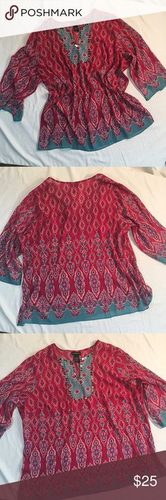 "Lane Bryant Plus Size Tunic Gorgeous raspberry and aqua patterned boho Tunic from Lane Bryant. The unlined top has a v-neckline bordered with sequins and 3/4 length sleeves. 100% Polyester. Machine washable. Size 22/24. Bust 49"". Length 30"". Like new condition. No flaws or signs of wear. Lane Bryant Tops Tunics"