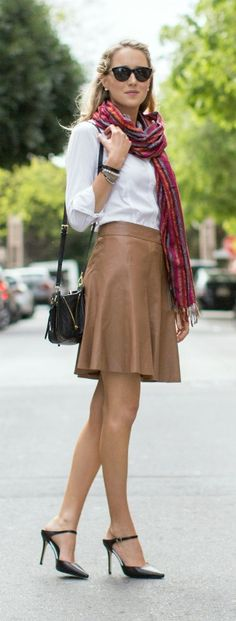 brown leather flare skirt, white button front collared shirt with rolled sleeves, colorful striped scarf, mule pointed toe backless pumps