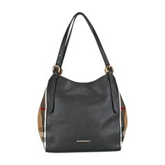 Burberry The Small Canter in Leather and House Check Tote - Black $799.99