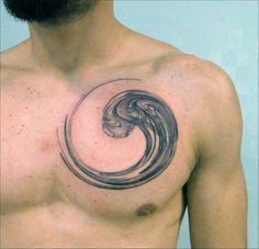 Creative Enso Circle Of Life Mens Chest Tattoos