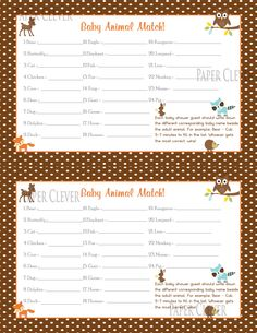 Woodland baby shower baby animal match game. via Etsy.