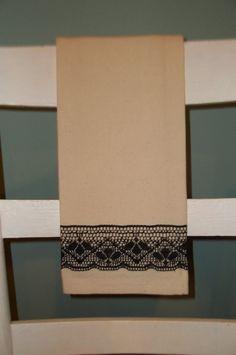 Tea Towel Cotton Canvas Vintage Flour Sack Black by TheSpiralHill, $13.00