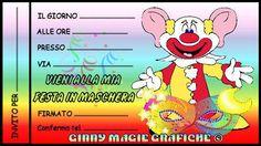 """10 Febbraio 2015 novità: gratis per sempre invito festa in maschera per bambini in occasione di Carnevale """"Clown e maschera"""" da Ginny Magie Grafiche. Scaricare il file word o pdf da stampare con le linee guida per il ritaglio, i files si trovano in fondo a questa pagina. (Copyright Ginny Magie Grafiche: Il file è gentilmente concesso per uso personale limitato, non è consentita nessuna modifica alla grafica né la vendita.)."""