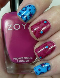 """Flowers, Flowers, Everywhere...""""Zoya ~ Robyn+ Zoya ~Dana +   stamp BM224 for stamping used Zoya ~ Stacy over Zoya ~ Dana and Zoya ~ Ibiza over Zoya ~ Robyn + dotted some of the flowers centers with the opposing color."""""""