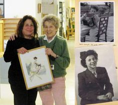 Mom when she was younger, in WWII, and now, with me, and one of her watercolors. Great pix of her, LOUSY one of me!