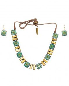 Turquoise and Golden Beaded Necklace Set