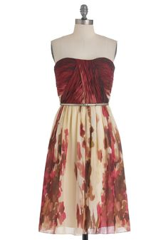 The Scenery at Sunset Dress - Red, Brown, Tan / Cream, Floral, Formal, Wedding, Sheath / Shift, Strapless, Belted, Ruching, Chiffon, Long, Exclusives, Top Rated