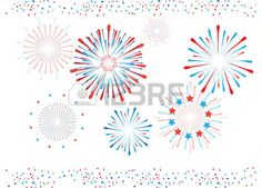 Fireworks and confetti in American flag color Red and Blue Fireworks illustration isolated on white  Stock Vector