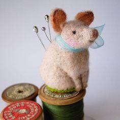 Original Handmade Needle Felted Pig Pin Cushion