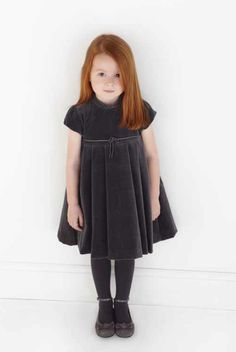 Tartine et Chocolat sweet deep grey velvet dress and pumps for winter 2011 children's fashion