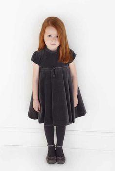 Tartine et Chocolat  sweet deep grey velvet dress and pumps for winter 2011 children's fashion