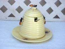 Vintage Ceramic Beehive Honey Pot Jar With Spoon Lid Plate And Bees