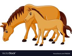 Cartoon happy brown horse with a foal vector image on VectorStock Cartoon Drawing For Kids, Bunny Drawing, Cartoon Drawings, Cute Drawings, Adobe Illustrator, Sheep Vector, Mom And Baby Elephant, Sunday School Crafts For Kids, Kids Canvas Art