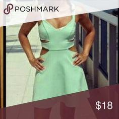 Mint cut out skater dress Adorable cut out cotton dress  mid length beautiful mint color ! Dresses Midi