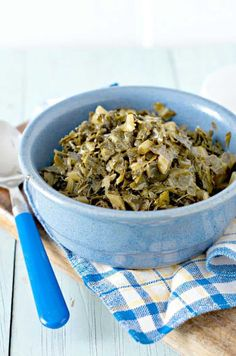 This recipe for how to cook canned collard greens gives instructions for stove top and links to fresh collards greens as well. How To Cook Zucchini, How To Cook Ham, Vegetarian Cooking, Cooking Recipes, Southern Collard Greens, Chicken Potato Bake, Cooking Pork Chops, Shredded Brussel Sprouts, Turnip Greens