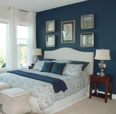 Bedroom, Blue Master Bedroom Ideas Cool Engineered Hardwood Ranch Wide Plank Oak One Drawer One Door Night Stand Modern Shaded Floor Lamp White Brown Rug Area Modern Table Lamps: Think About Blue, Try Our Blue Bedroom Design Blue Master Bedroom, Blue Bedroom Decor, Small Room Bedroom, Master Bedroom Design, Bedroom Colors, Modern Bedroom, Bedroom Wall, Trendy Bedroom, Contemporary Bedroom